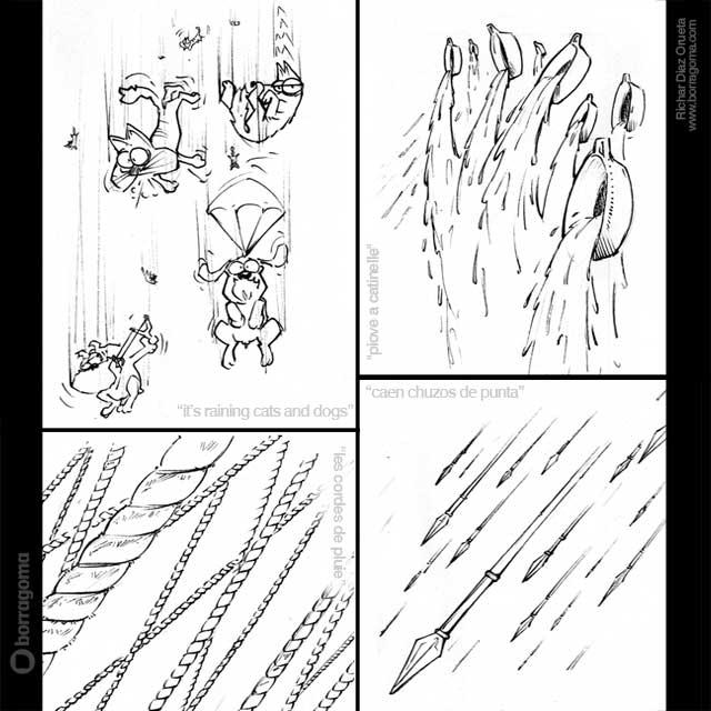 IMG IDIOMS LLUVIA en IDIOMAS Dibujar en otros idiomas / Ilustración de Expresiones Populares Trabajos Realizados Photoshop Ilustración en Bilbao Ilustración de Expresiones Populares Ilustración idiomas humor gráfico humor Expresiones en otros idiomas Expresiones